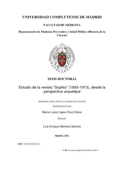 Estudio de la revista Sophia (1893-1913), desde la perspectiva arquetipal