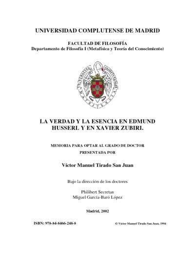 La verdad y la esencia en Edmund Husserl y en Xavier Zubiri
