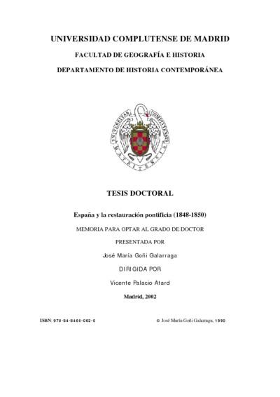 España y la restauración pontificia (1848-1850)