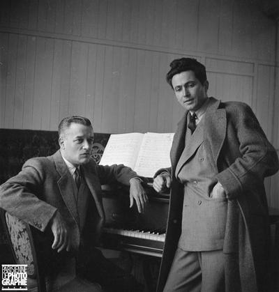 Louis Beydts et Jacques Jansen pendant les répétitions de A l'aimable Sabineau théatre Manguy,