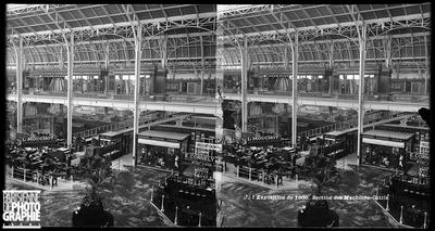 Exposition universelle de 1900. Palais des Fils, tissus et vêtements, section des machines-outils.