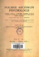 Polskie Archiwum Psychologji : Tom IV, nr 1