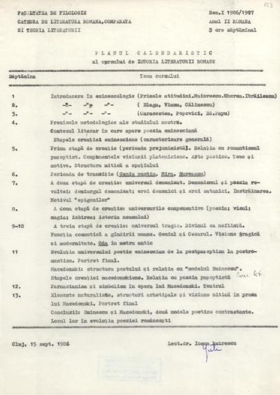 Documente privind activitatea didactică a Ioanei Em. Petrescu (1986-1987)