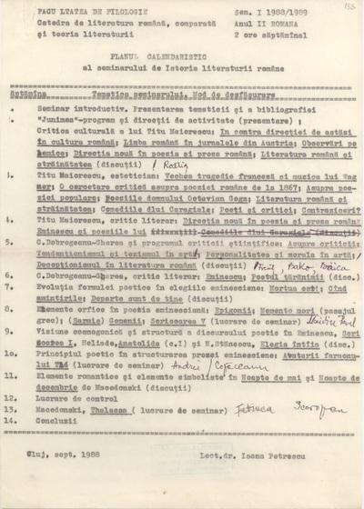 Documente privind activitatea didactică a Ioanei Em. Petrescu (1988-1989)