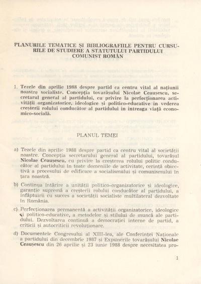 Studierea învăţământului politico-ideologic al României comuniste
