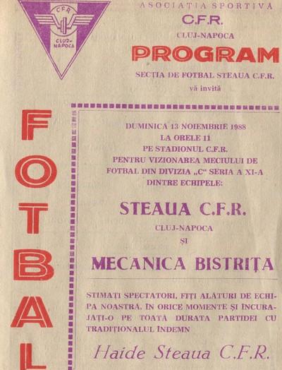 Broșură invitație la meciul dintre Steaua C.F.R. Cluj-Napoca și MECANICA Bistrița
