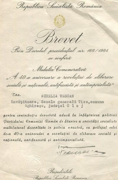 Brevet din anul 1984 prin Decret Prezidențial