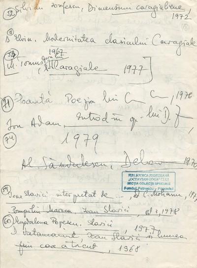 Propuneri de programă întocmite de Ioana Em. Petrescu (1980-1981), lector la Facultatea de Filologie, în anul universitar 1983-1984