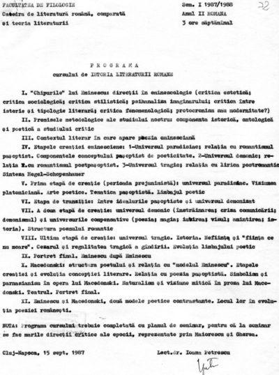 Planuri calendaristice întocmite de Ioana Em. Petrescu (1980-1981), lector la Facultatea de Filologie, pe anul universitar 1987-1988