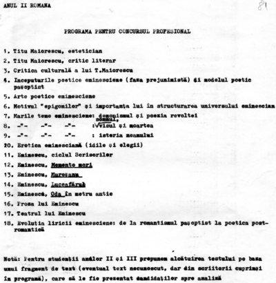 Programa pentru concursul profesional, aparținând Ioanei Em. Petrescu, lector la Facultatea de Filologie a Universității
