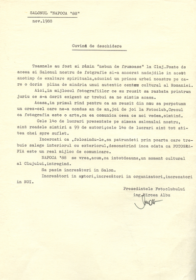 """Inaugurarea Salonului """"Napoca ʾ88"""""""
