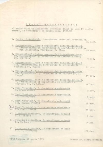 Documente privind activitatea didactică a lui Liviu Petrescu, lector la Facultatea de Filologie, în anul universitar 1985-1986