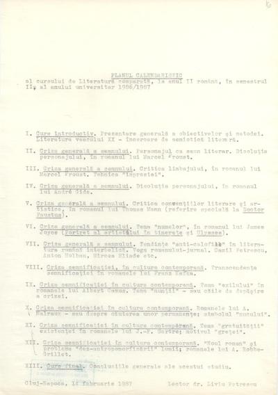 Documente privind activitatea didactică a lui Liviu Petrescu, lector la Facultatea de Filologie, în anul universitar 1986-1987