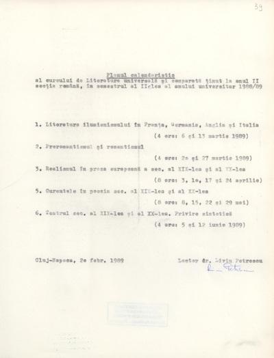 Documente privind activitatea didactică a lui Liviu Petrescu, lector la Facultatea de Filologie, în anul universitar 1988-1989