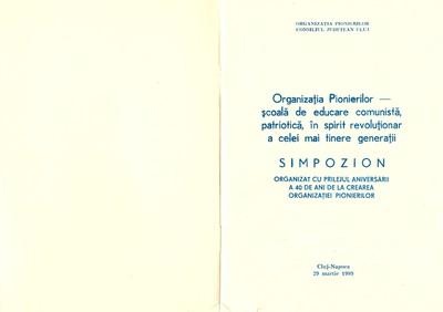 Program al Simpozionului Organizației Pionierilor din 29 martie 1989