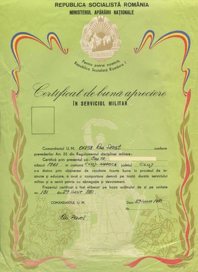 Certificat de bună apreciere în serviciul militar