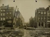 Panden gelegen om het Boerenverlaat voor de herstelwerkzaamheden, 16 februari 1924