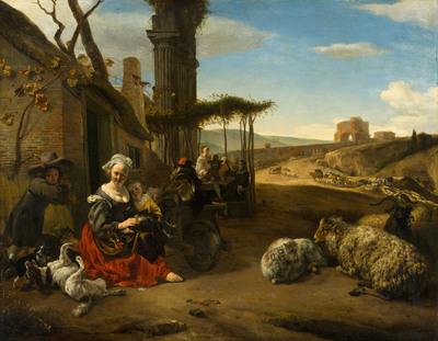 Italiaans landschap met herberg en antieke ruïnes