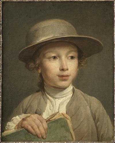 Portret van een jongen met tekenboek, mogelijk een leerling van de kunstenaar