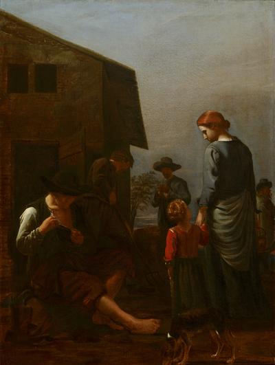 Boerenfamilie, met een een man die zich vlooit