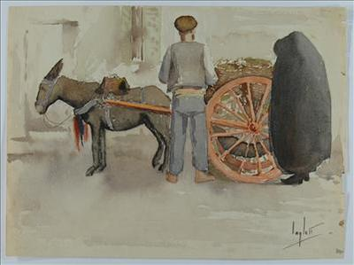 Vegetable-Hawker with donkey-cart