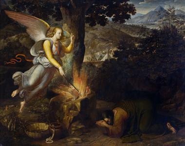 Biblical Scene: Gideon' s sacrifice at Ophrah