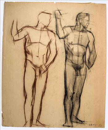 Two standing male nudes (front)