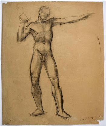 Standing male nude (putting the shot)