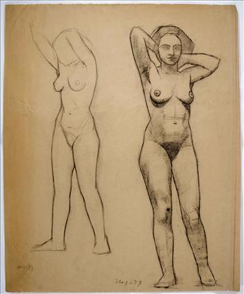 Two standing female nudes with arms behind neck