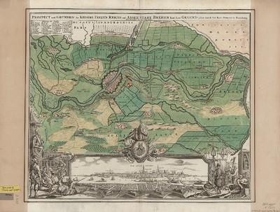 Umgebungskarte und Ansicht von Bremen, 1:30 000, kolor. Kupferst., um 1716