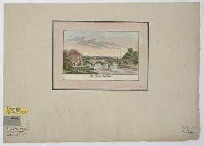 Ansicht der Brücke bei Jena, Kupferstich, um 1780