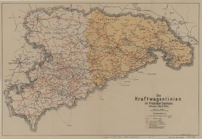 Karte von Sachsen mit den Kraftwagenlinien, 1:500 000, 1933