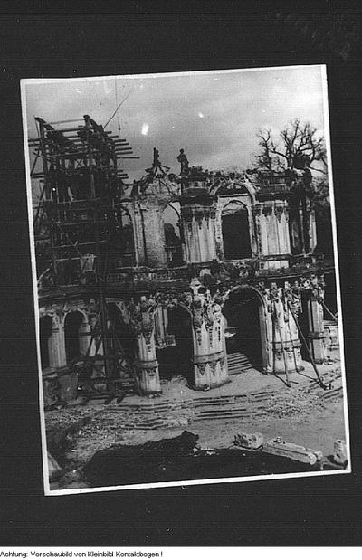 Dresden, Altstadt, Wiederaufbau. Zwinger, 1948, September 1954, Winter 1955