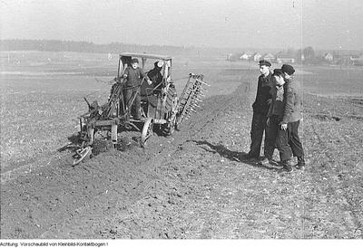 Landwirtschaftliche Produktionsgenossenschaften (LPG) in Petershain, Bärwalde und Jahna, März 1953
