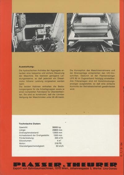 Prospekt: Plasser und Theurer Export von Bahnbaumaschinen GmbH