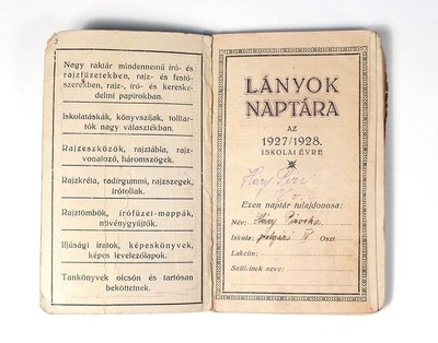 Lányok naptára az 1927/1928. iskolai évre.