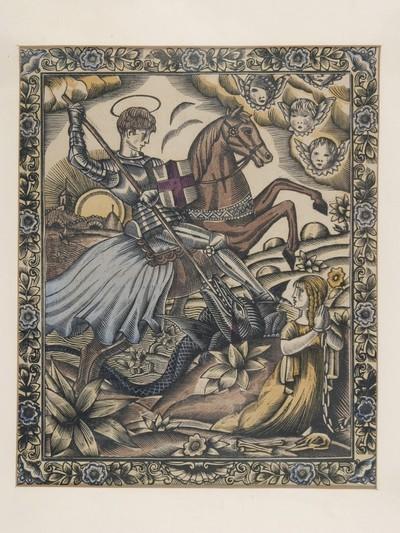Sárkányölő Szent György (ismeretlen grafikus munkája)
