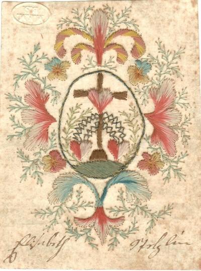 A szeretet isteni erényének szív emblémája virágkoszorúban