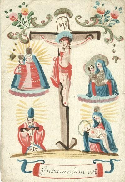Keresztre feszített Krisztus, a Máriacelli kegyszobor, a kincstári Madonna, a Sonntagberg-i Szentháromság kegykép és a Maria Taferl-i Pietá kegyszobor ábrázolásával