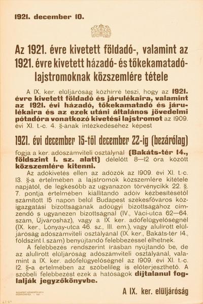 AZ 1921. ÉVRE KIVETETT FÖLDADÓ, VALAMINT AZ 1921. ÉVRE KIVETETT HÁZADÓ ÉS TŐKEKAMATADÓ LAJSTROMOKNAK KÖZSZEMLÉRE TÉTELE...