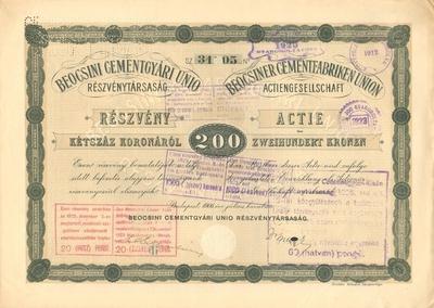 A Beocsini Cementgyári Unio Rt. részvénye 200 koronáról