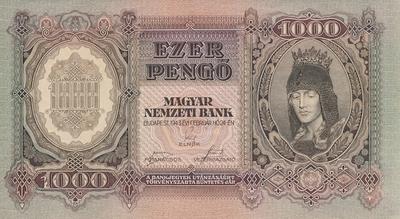 ezer pengő értékű bankjegy