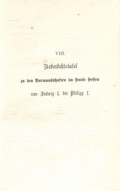 VIII. Uebersichtstafel zu den Vormundschaften im Hause Hessen von Ludwig I. bis Philipp I.