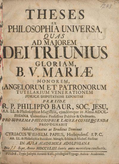 Theses Ex Philosophia Universa ...