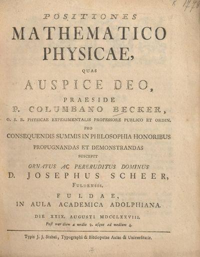Positiones mathematico physicae
