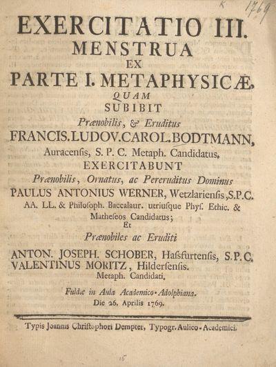 Exercitatio III. menstrua ex parte I. metaphysicae