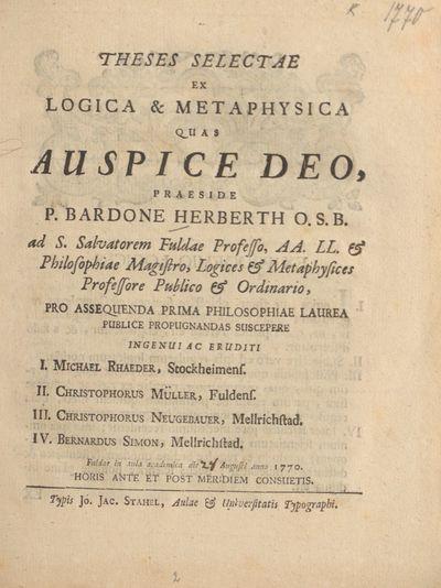 Theses Selectae Ex Logica Et Metaphysica