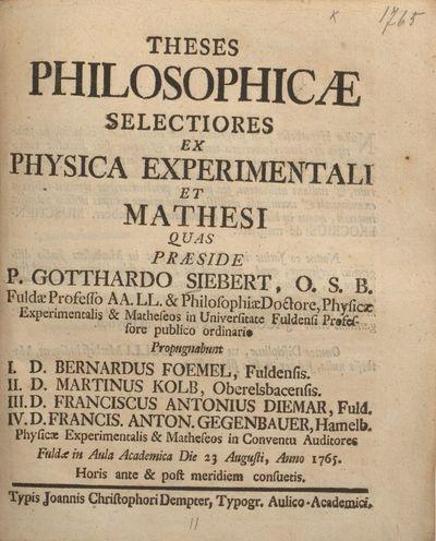 Theses philosophicae selectiores ex physica experimentali et mathesi