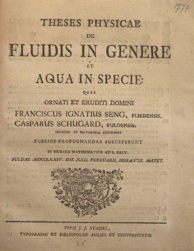 Theses physicae de fluidis in genere et aqua in specie
