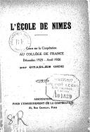 L'École de Nîmes : cours sur la coopération au Collège de France, décembre 1925-avril 1926 / par Charles Gide